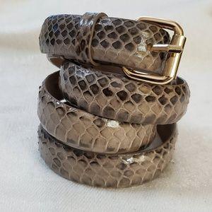 Ann Taylor Taupe Snake Print Skinny Belt M #1322